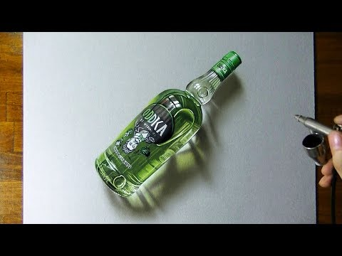 Drawing timelapse: a bottle of Oddka vodka – hyperrealistic art