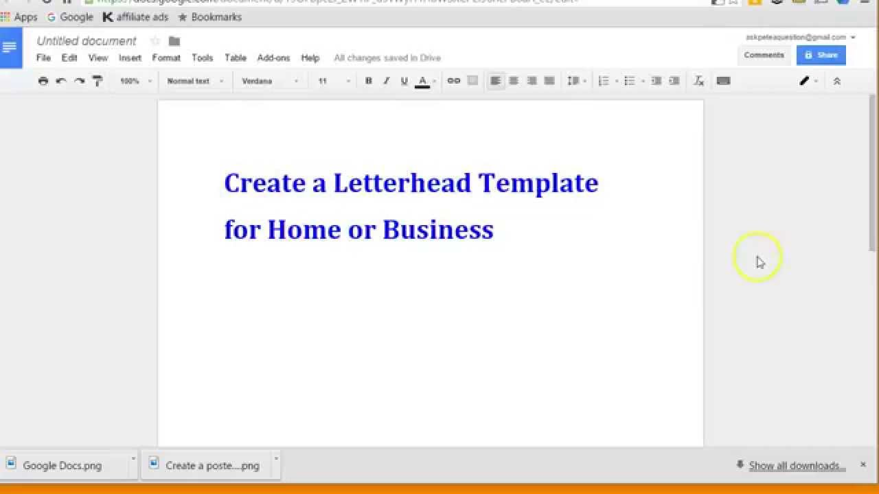 create letterhead layout with google docs youtube