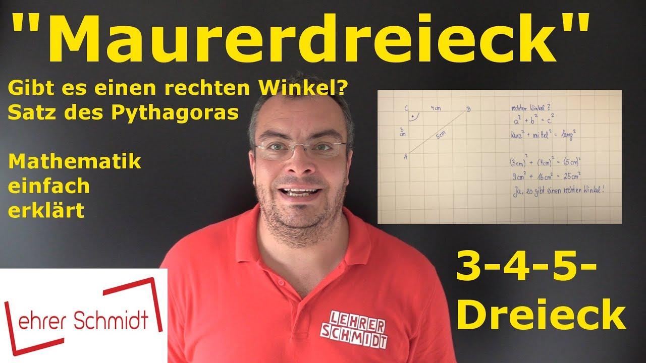 maurerdreieck - 3-4-5-dreieck | satz des pythagoras | mathematik