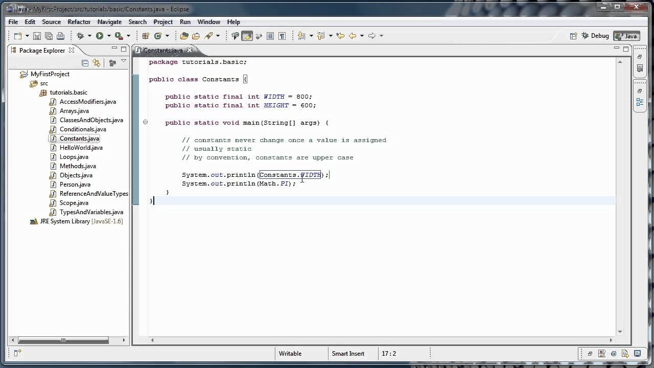 Java Programming: 14 - Constants