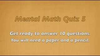 Mental Math Quiz 5 - Grades 2 and 3 Math - Numeracy Skills - Sparkles Online School