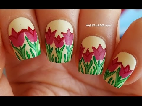 matte nails #3 - tulip nail art