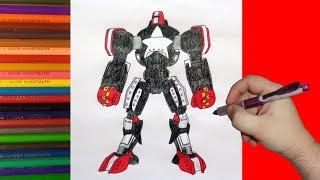 How to draw robot Blockbuster,  Real Steel, Как нарисовать робота Блокбастер
