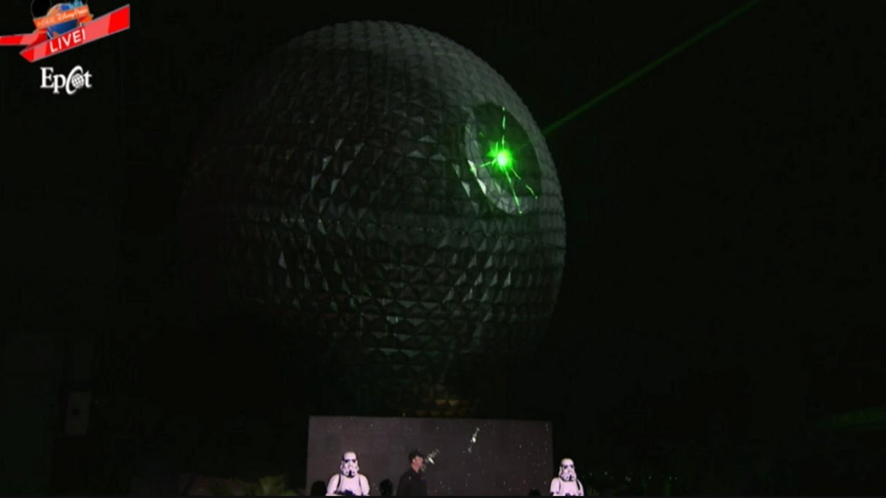 Watch the Epcot Spaceship Earth Transform into the Deathstar!