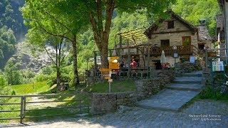 4K Foroglio, Val Bavona Ticino SWITZERLAND アルプス山脈 aerialview