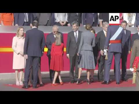 King Felipe presides over Madrid military parade celebrating National Day