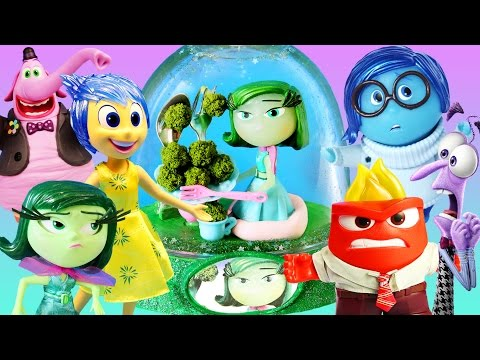 INSIDE OUT 6 CHARACTERS GLITTER GLOBES How to Disgust Fear Joy Sadness Anger Bing Bong Disney Toys