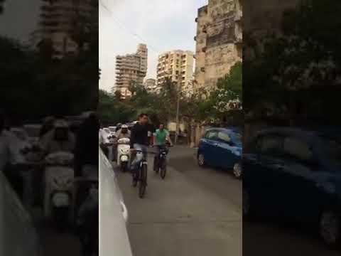 Salman Khan cycling outside Shahrukh khan's Mannat