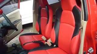 modif jok mobil honda brio warna merah