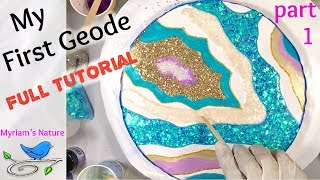 85]  Resin GEODE Fun - Step-by-step TUTORIAL with lots of Sparkle -  Fluid Art