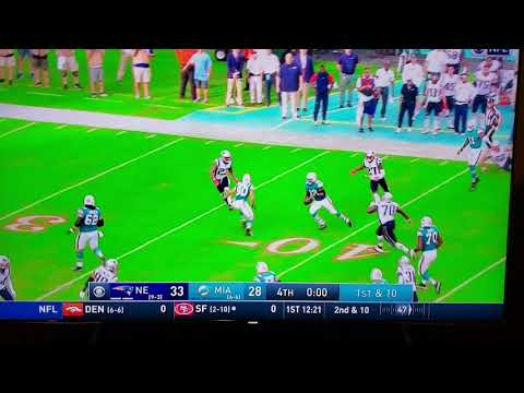 Miami Dolphins last second double lateral pass play to defeat the New England Patriots