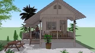 บ้านไม้หลังคากระเบื้องว่าว ( No. 044 )  Sketchup by :  i. pakdee