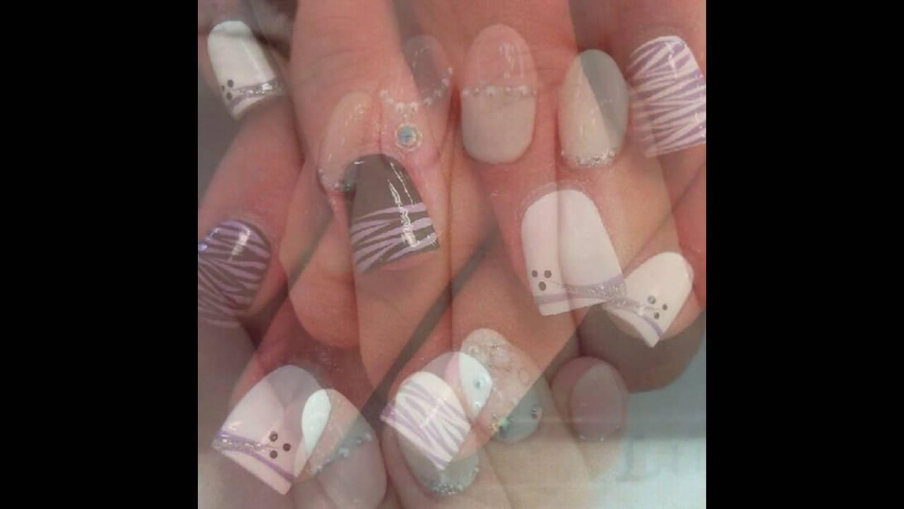 Uñas decoradas blancas con plata - YouTube