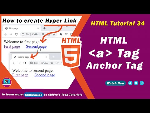 HTML Video Tutorial - 34 - Html A Tag For Hyper Text