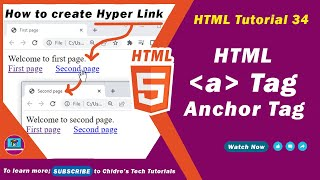 Gambar cover HTML video tutorial - 34 - html a tag for hyper text