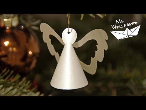kleine Engel basteln mit Papier als Christbaumschmuck zu Weihnachten - Weihnachtsdeko selber basteln