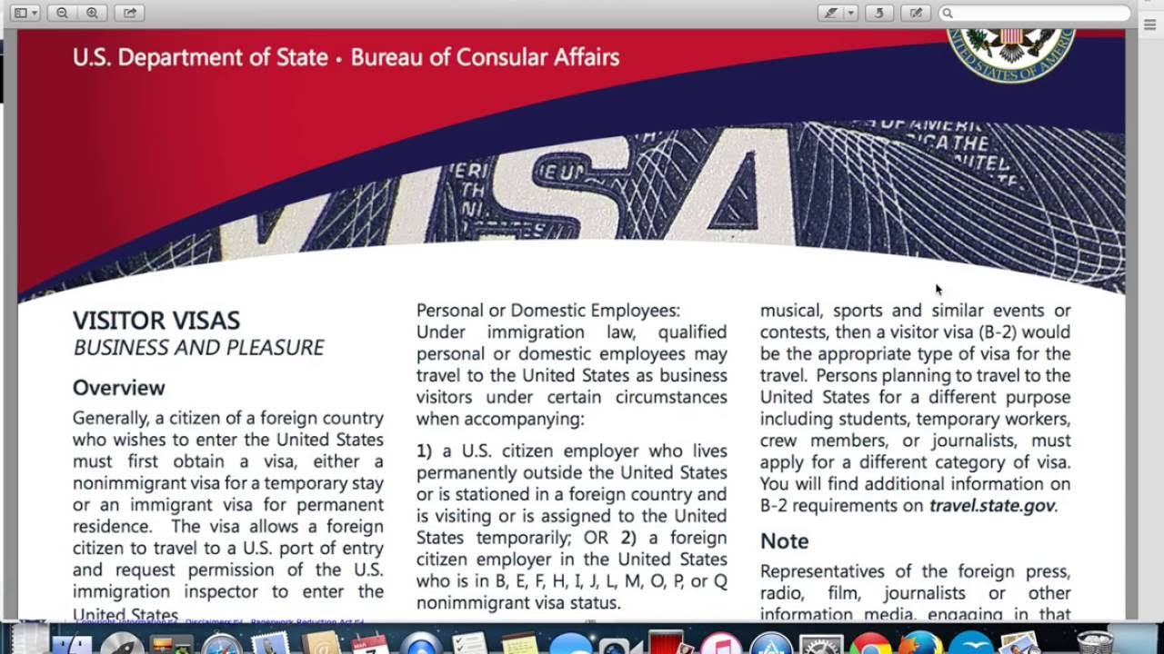 Visitor or Tourist Visa|B1/B2 Visa Application USA - YouTube