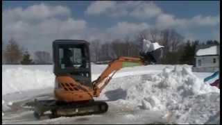 Snow Removal with an Excavator/Revolving Track Loader!
