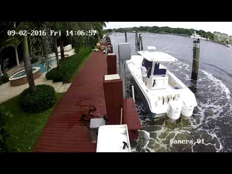 Boat Lift Fail - Lighthouse Point, Florida - Sept 2, 2016