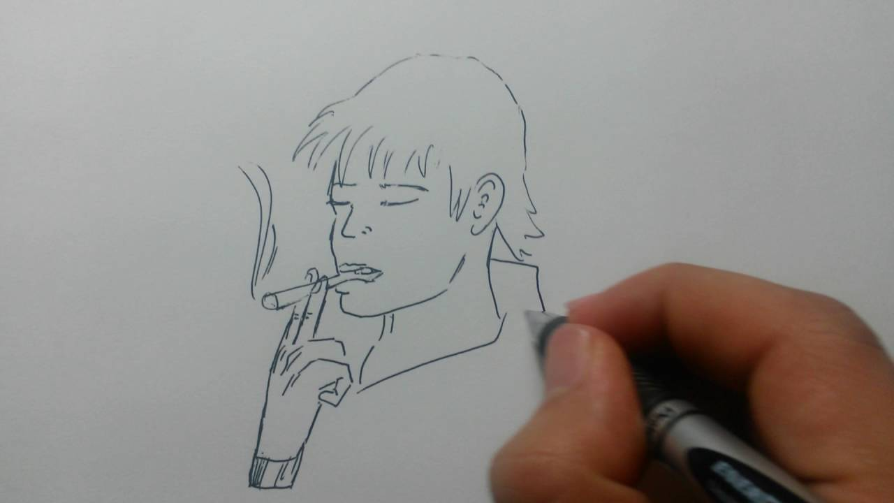 Drawing A Man Smoking