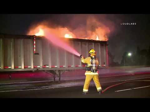 Recycling Fire Santa Fe Springs Raw Footage