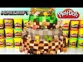 MINECRAFT Play Doh Cake! Grass Stone Netherrack Series 1 2 3! Hangers! Mini Figure Blind Boxes!