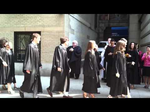 Trinity HS (NYC) Seniors arriving at graduation