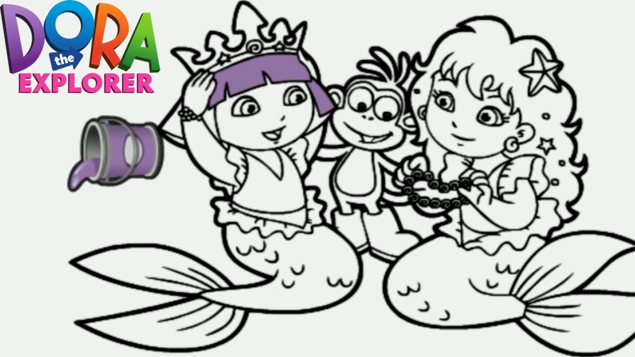 Dora the Explorer Mermaid Princess Nick Jr. Coloring Book Game for ...