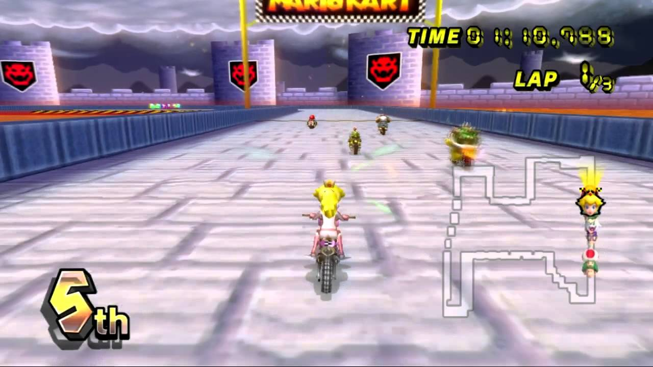 Mario Kart Wii Wii Walkthrough Gba Bowser Castle 3
