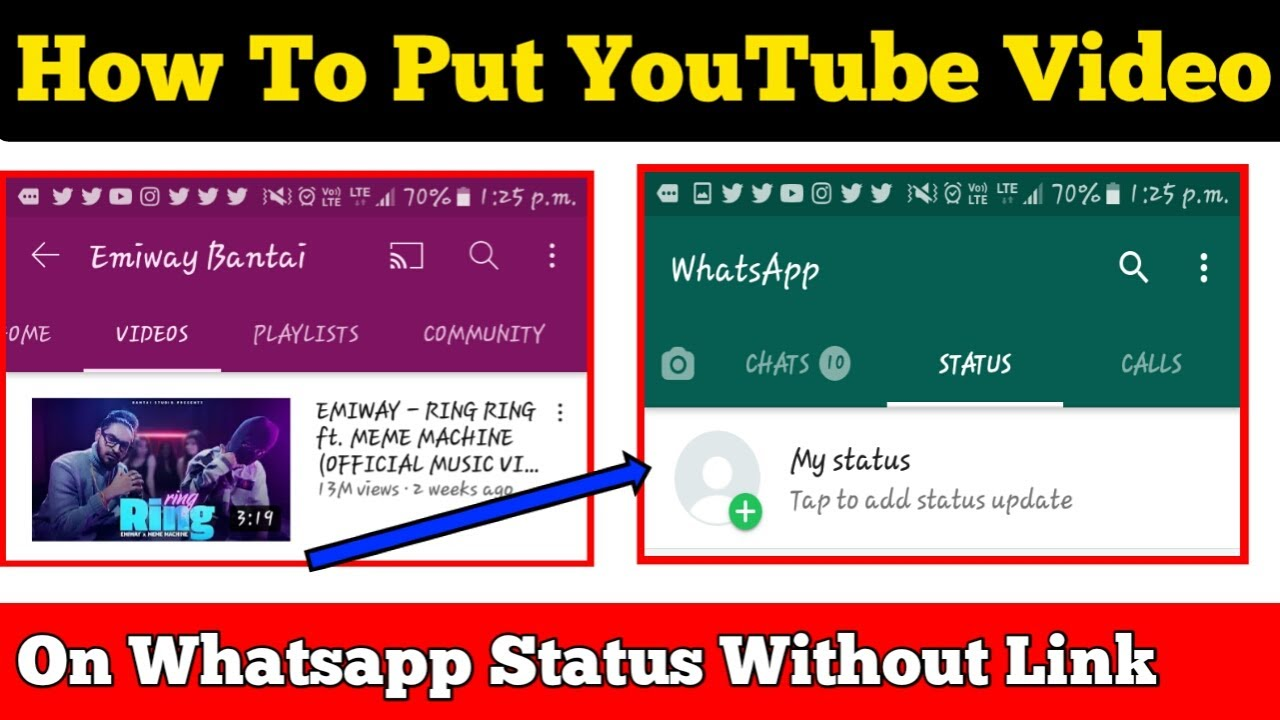 How To Share Youtube Video On Whatsapp Status Without Link Youtube