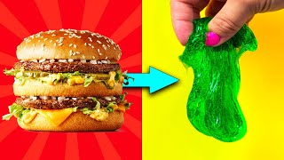 TURN THIS BIG MAC INTO SLIME! Real or Fake? No Glue Slime Hack #WIS