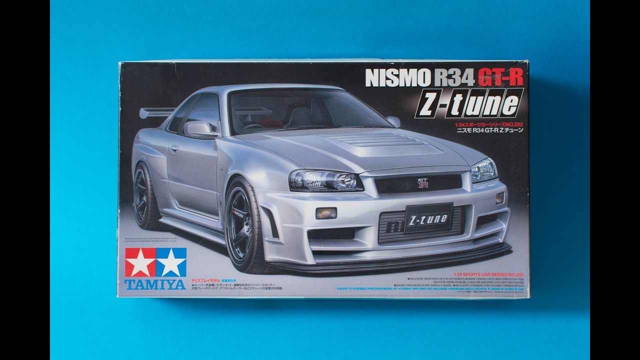 Tamiya 1/24 Nissan Skyline R34 GTR Z-Tune Model Kit Unboxing And ...