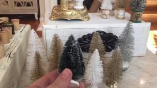 DIY Bottlebrush Trees with Vintage Wooden Spool Stands Tutorial Christmas Tree Village Set