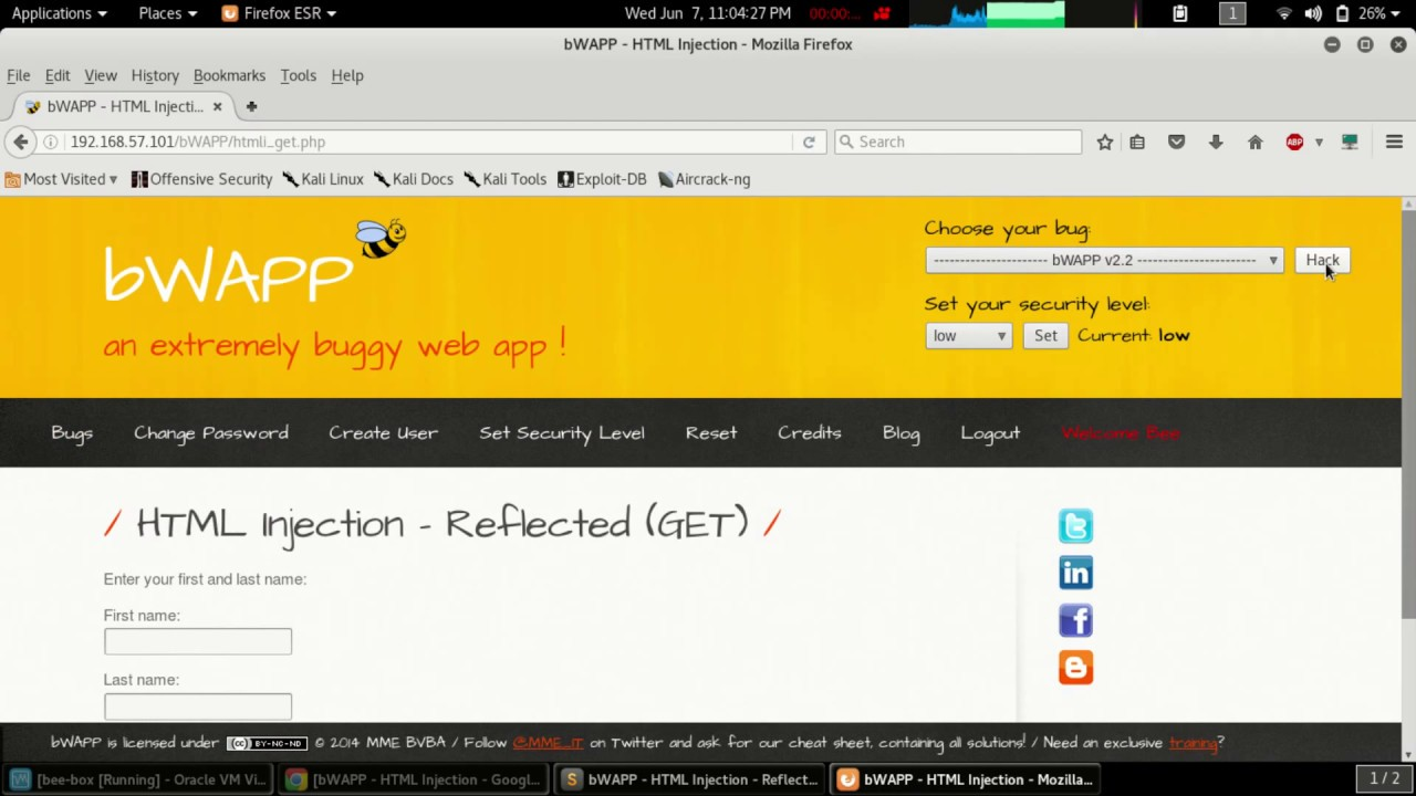 bWAPP - HTML Injection - Reflected (GET)