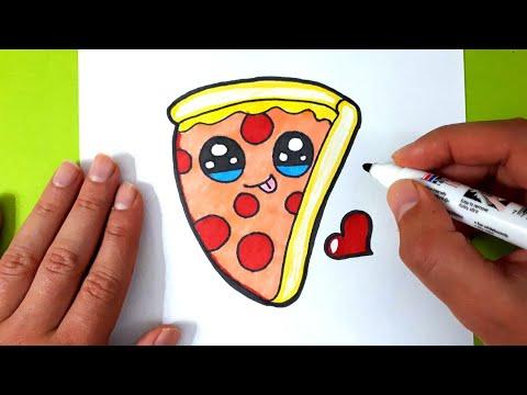 How to Draw a Cartoon Pizza Slice cute kawaii and easy