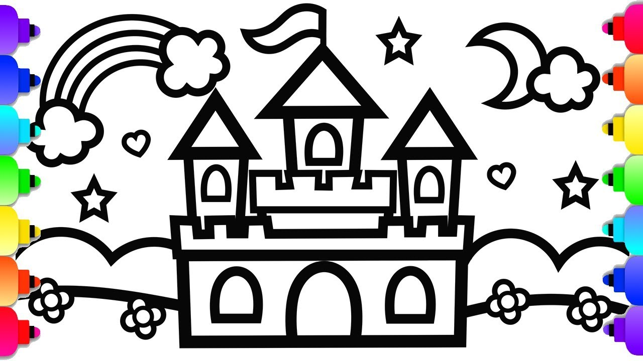 GLITTER Castle Drawing and Coloring 💗🏰💗Princess Castle Coloring Page  Easy Step by Step