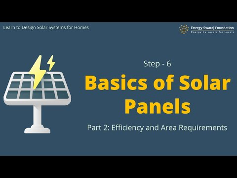 Step-6 : Basics of Solar Panels (Part-2) Efficiency and Area Requirements || Design solar systems