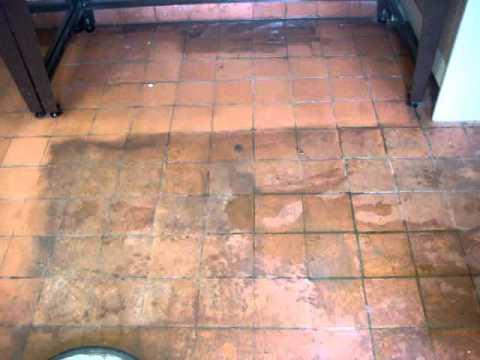 Terracotta floor tile cleaning