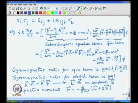 Mod-01 Lec-06 Electromagnetic interactions, Gyromagnetic ratio