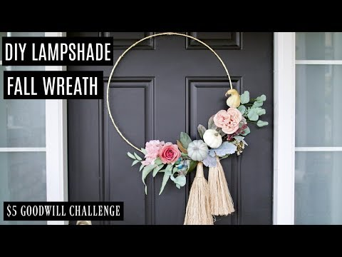 $5 Goodwill Challenge: DIY Fall Wreath from Old Lampshade