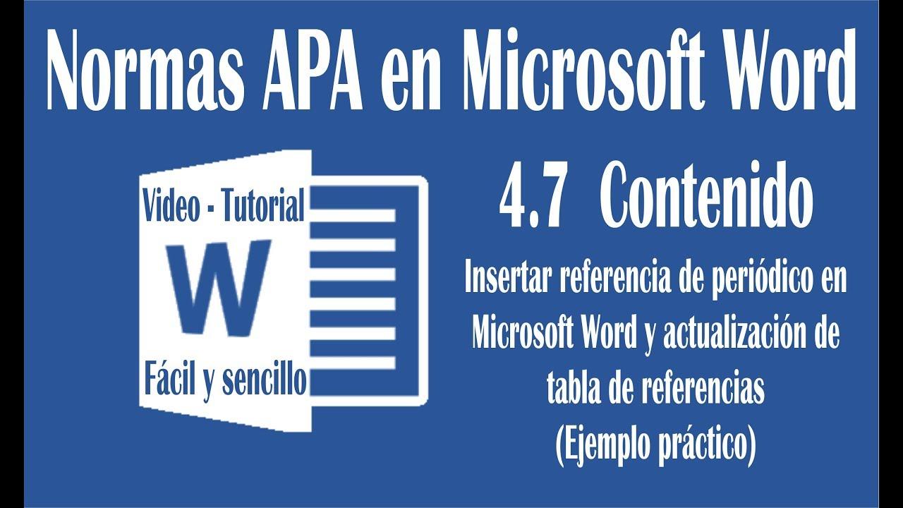 Vídeo 4.7 Hacer referencias de un periódico en Word, según normas ...
