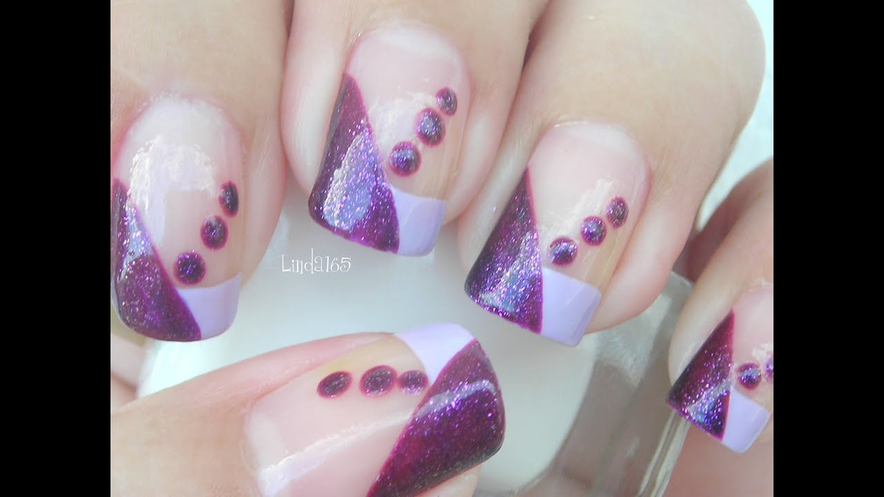 Nail art i love purple dots decoracion de u as youtube for Decoracion unas