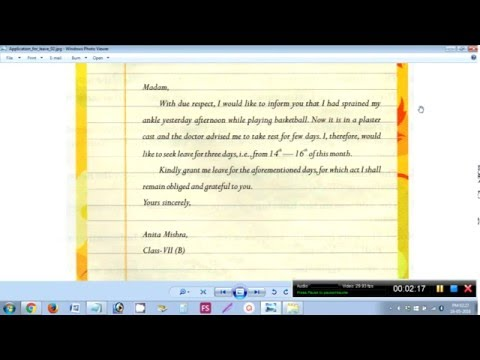 How To Write A Leave Application To The Class Teacher - Youtube