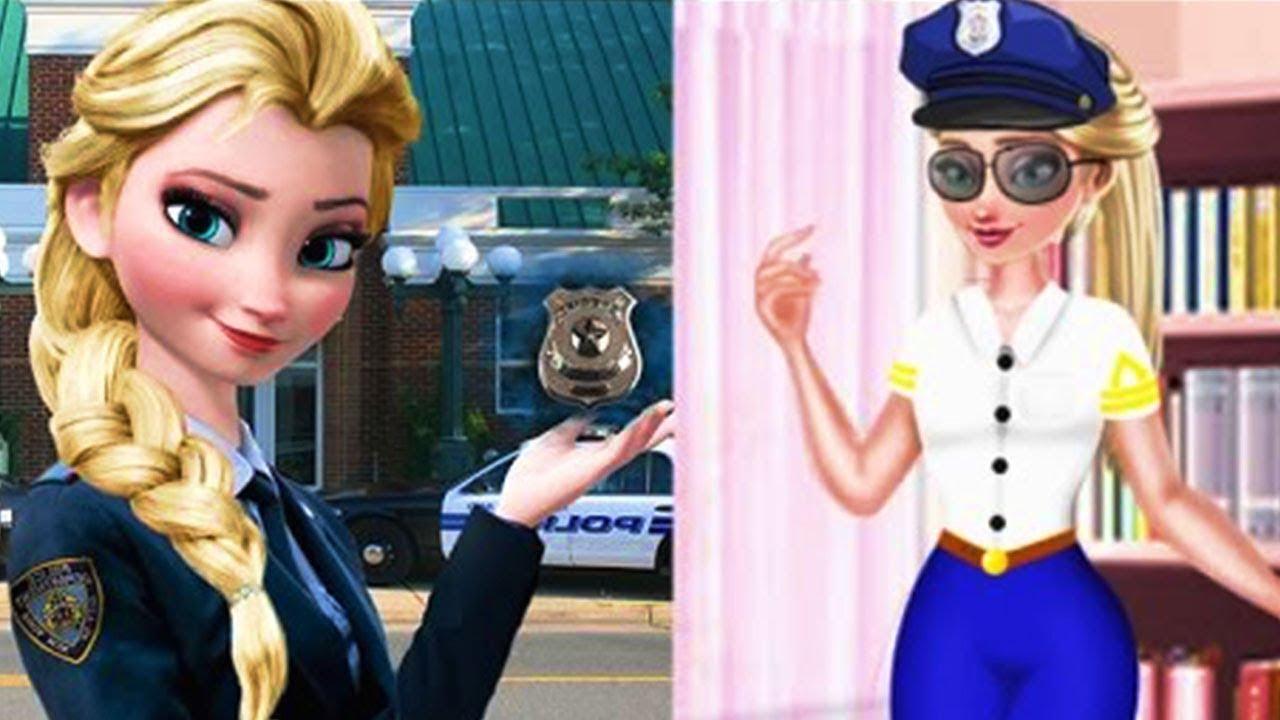 Disney games Frozen Elsa Police Style. Frozen dress up game for girls. Elsa cartoon