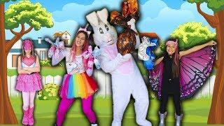 CRIANÇAS SALVAM COELHO da PÁSCOA COM SUPER PODERES  Kids Pretend Play with Easter Bunny
