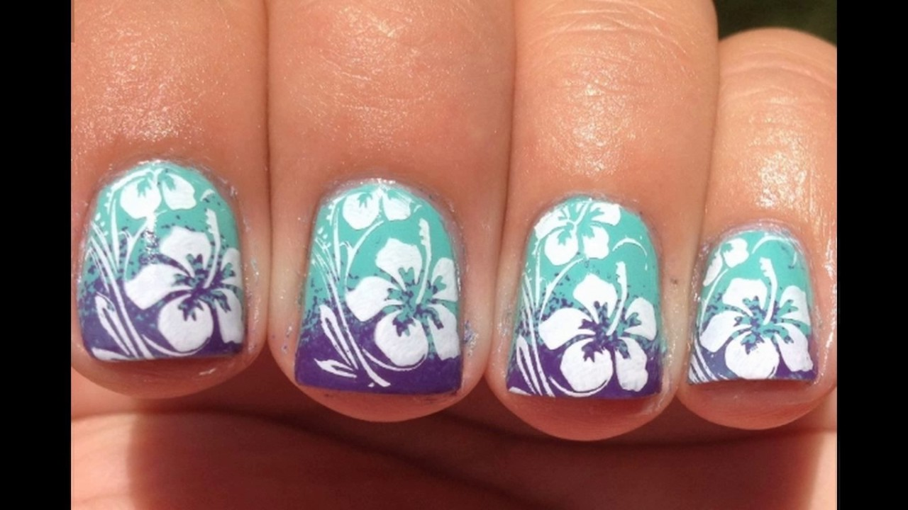 Hawaiian flower toe nail designs - YouTube
