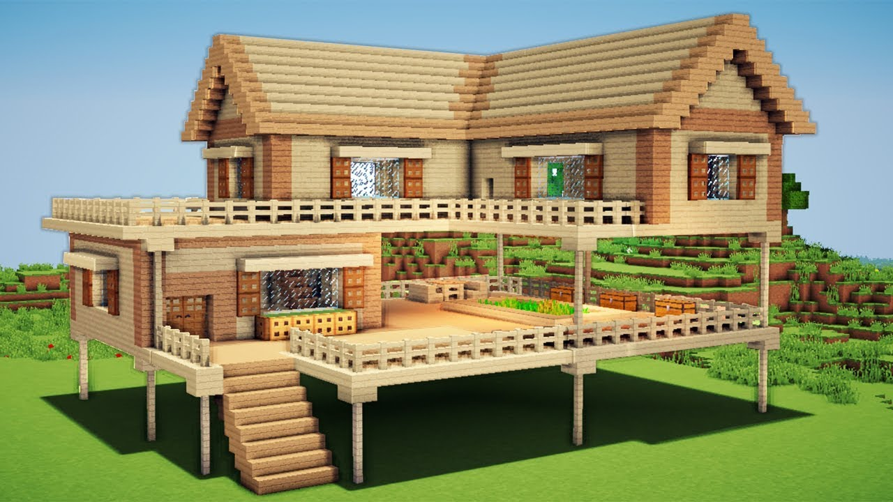 Minecraft Large Wooden House Tutorial How To Build A Survival House In Minecraft Easy Easy Minecraft Houses Minecraft House Designs Cute Minecraft Houses