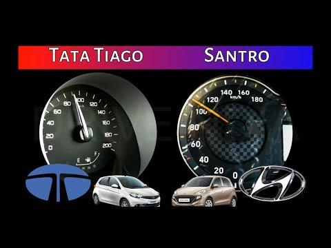 Tata Tiago vs Hyundai Santro | 0-100 Acceleration/Speed test