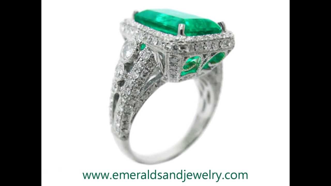 product emerald real diamond rose amazing detail cut gemstone gold ring