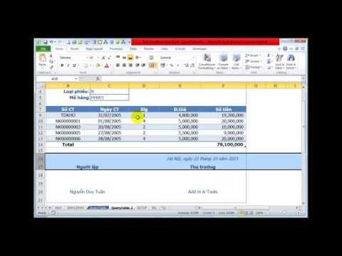 Hướng dẫn tạo báo cáo động Query Table trong Excel và Add-in A-Tools